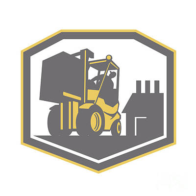 Forklift Truck Materials Handling Logistics Retro Poster by Aloysius Patrimonio