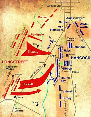 Formational Map Of Pickett's Charge - Battle Of Gettysburg Poster by Mountain Dreams