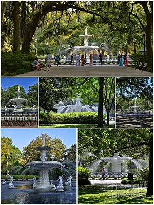 Forsyth Fountain Collage Poster by Allen Beatty