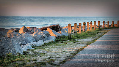 Fort Fisher Rocks At  Sunrise Poster