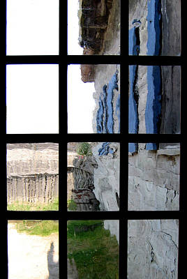 Poster featuring the photograph Fort Mackinac Through An Old Window by Mary Bedy