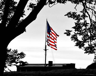 Fort Mchenry Flag Color Splash Poster