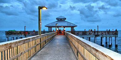 Poster featuring the photograph Fort Myers Beach Pier by Rosemary Aubut
