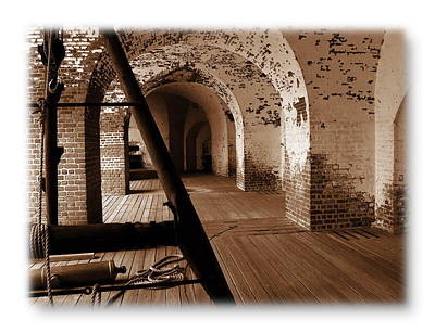Poster featuring the photograph Fort Pulaski Arches Sepia by Jacqueline M Lewis