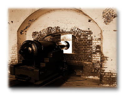 Poster featuring the photograph Fort Pulaski Canon Sepia by Jacqueline M Lewis