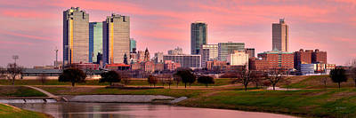Poster featuring the photograph Fort Worth Skyline At Dusk Evening Color Evening Panorama Ft Worth Texas  by Jon Holiday