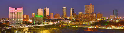 Poster featuring the photograph Fort Worth Skyline At Night Color Evening Panorama Ft. Worth Texas by Jon Holiday