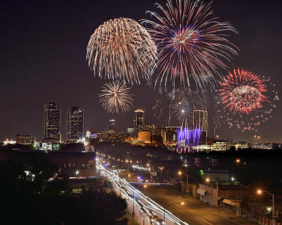 Poster featuring the photograph Fort Worth Skyline At Night Fireworks Color Evening Ft. Worth Texas by Jon Holiday