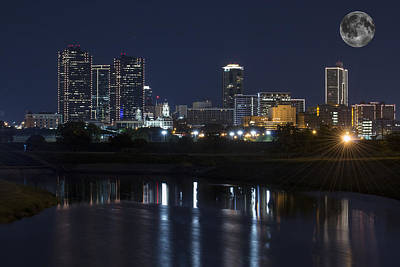 Fort Worth Skyline Super Moon Poster by Jonathan Davison