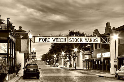 Fort Worth Stock Yards In Sepia Poster