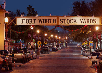 Fort Worth Stock Yards Night Poster