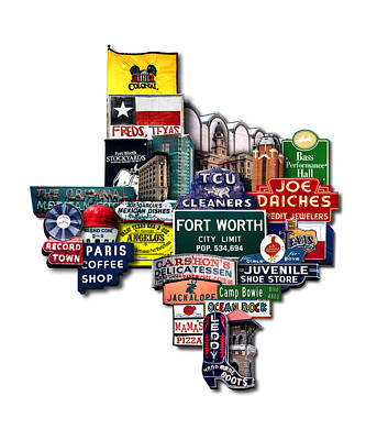 Fort Worth Texas Shaped Photomontage Print Poster