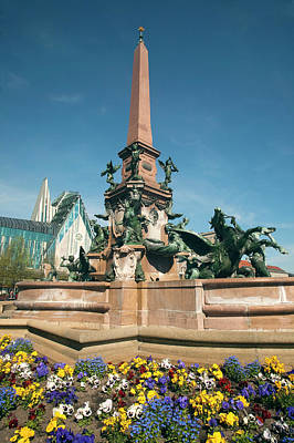 Fountain And Monument In Center Poster