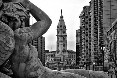 Fountain And Philadelphia City Hall In Black And White Poster by Bill Cannon