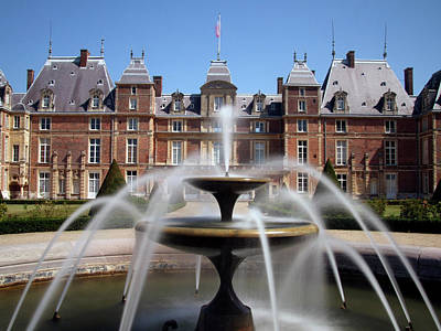 Fountain, Chateau, Eu, Normandy, France Poster by Alex Bartel