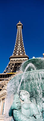 Fountain Eiffel Tower Las Vegas Nv Poster by Panoramic Images