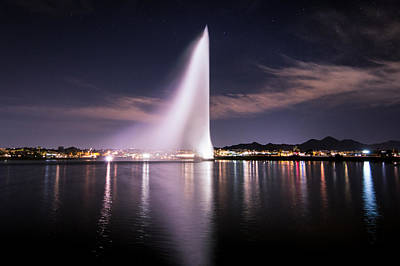 Fountain Hills At Night Poster by Michael J Bauer