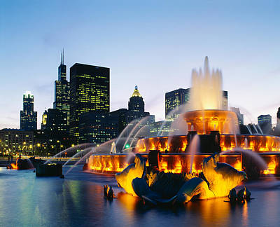 Fountain In A City Lit Up At Night Poster by Panoramic Images