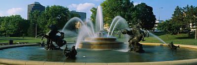 Fountain In A Garden, J C Nichols Poster