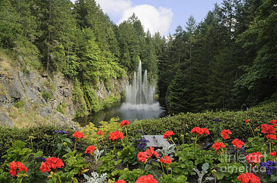 Fountain In Butchart Gardens Poster