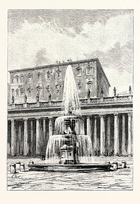 Fountain In Front Of The Vatican Poster by Italian School