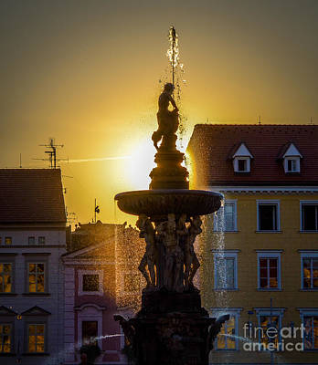 Fountain In Sunset Poster