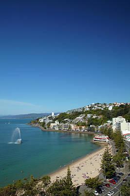 Fountain, Oriental Bay, Wellington Poster by David Wall