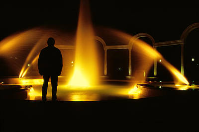 Poster featuring the photograph Fountain Silhouette by Jason Politte