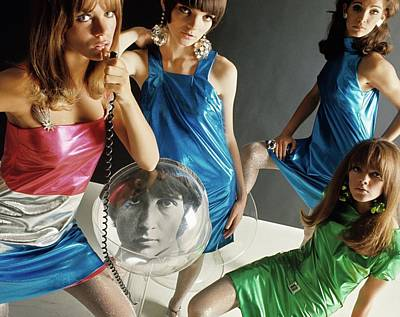Four 1960s Style Models Poster