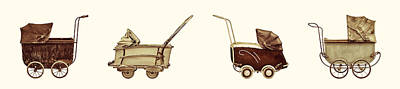 Four Antique Baby Strollers Poster by Martin Bergsma