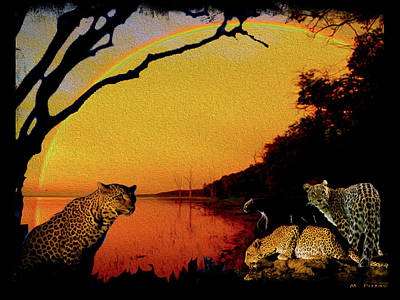 Four At Waterhole Poster