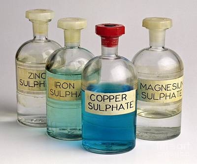 Four Bottles Of Sulphate Solutions Poster by Martyn F. Chillmaid