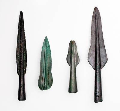 Four Bronze Age Spear Heads Poster by Paul D Stewart