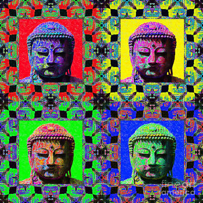 Four Buddhas 20130130 Poster by Wingsdomain Art and Photography