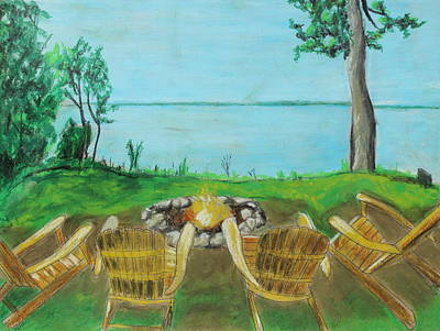 Poster featuring the painting Four Chairs by Jeanne Fischer