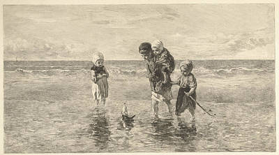 Four Children Playing With Toy Boat On The Beach In Shallow Poster