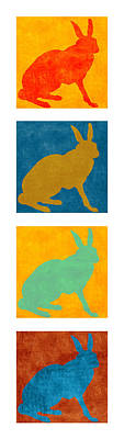 Four Colorful Rabbits Vertical Poster