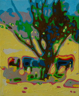 Four Cows Under Tree Oil Painting By Bertram Poole Poster