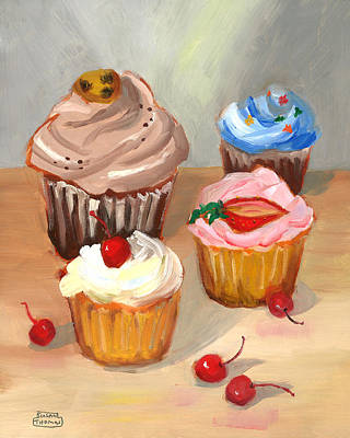 Poster featuring the painting Four Cupcakes by Susan Thomas