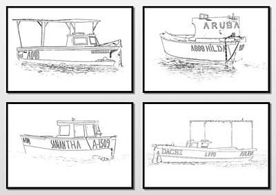 Four Fishing Boats Of Aruba Poster
