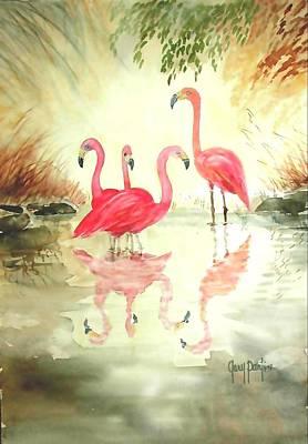 Four Flamingos Poster