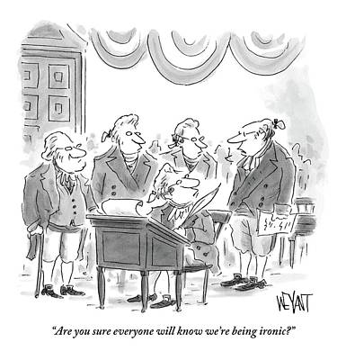 Four Founding Fathers Discuss The Writing Poster