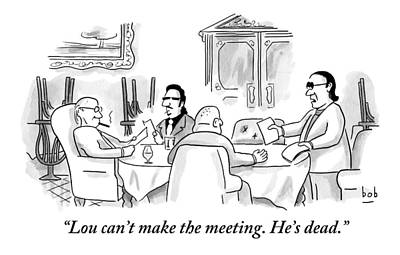 Four Men Sit At A Round Table Holding A Meeting Poster by Bob Eckstein