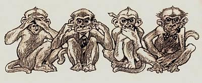 Four Monkeys Of The Apocalypse Poster