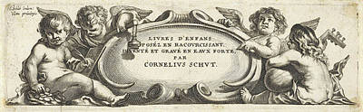 Four Putti Around A Cartouche, Print Maker Anonymous Poster by Cornelis Schut I
