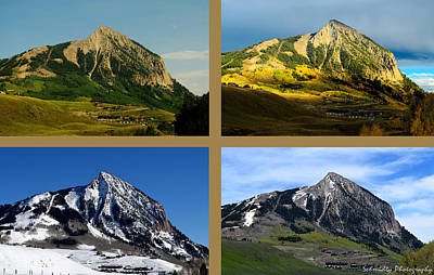 Four Seasons Of Mt. Crested Butte Poster by Mike Schmidt