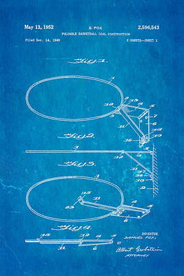 Fox Foldable Basketball Goal Patent Art 1952 Blueprint Poster