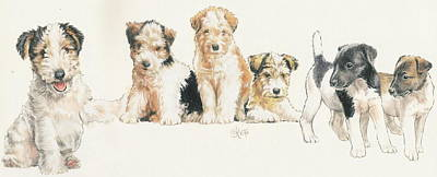 Fox Terrier Puppies Poster by Barbara Keith