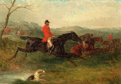 Foxhunting Clearing A Brook Signed And Dated In Red Paint Poster