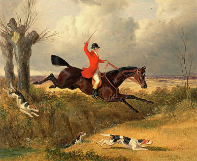 Foxhunting Clearing A Ditch Signed And Dated Poster